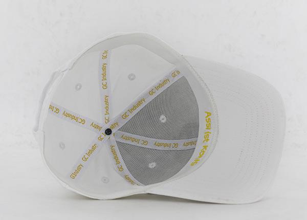 Inside of White Bent Curved Brim Snapback
